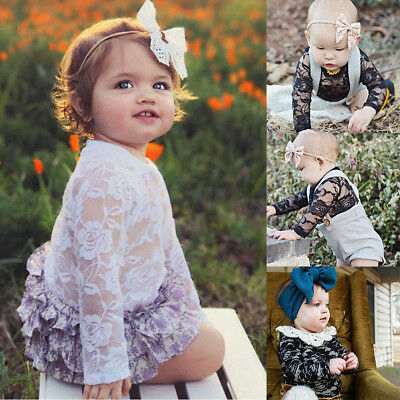 Toddler Baby Girls Long Sleeve Lace Floral Bodysuit Jumpsuit Top Clothes Outfits