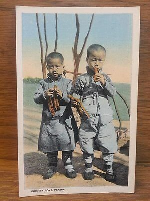 Antique Postcard - Chinese Boys Peking China Snacking Eating