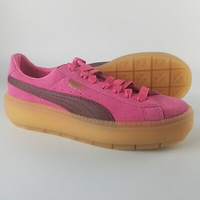a567ed4bfd18 Puma Suede Platform Trace Block Shoes Women s Size 9.5 Pink Gum bottom  367057-02