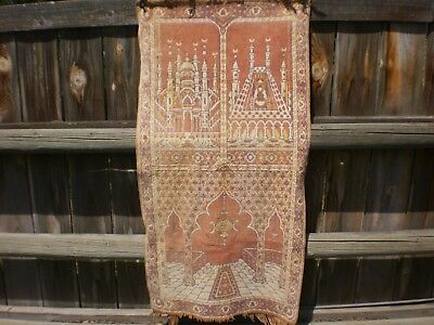 """Vintage Middle Eastern Tapestry 43"""" X 22""""  1940's-50's"""