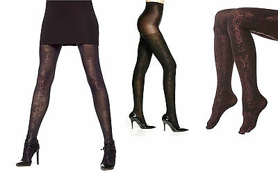 264da8c5d317f HUE WOMENS PAISLEY Lustre Tights with Control Top Claret 15817 Sz S ...