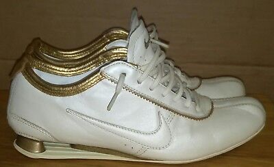 3ac48055c758b7 Nike ID Rivalry 2007 Shox Leather White Gold Sneakers Womens Size 7