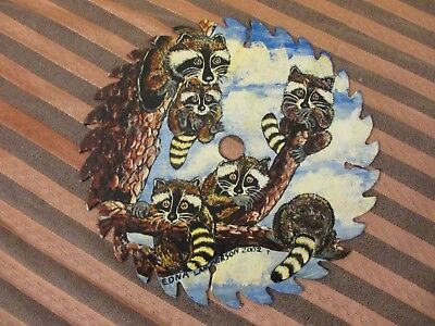 Hand Painted Saw Blade FAMILY OF RACCOONS IN TREE SIGNED/DATED 7 1/4""