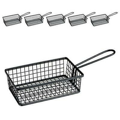 6x Fryer Style Serving Basket 160x104mm, Black, Chips / Fries / Sides / Tapas