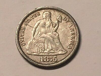 1875 10C Liberty Seated Dime - XF condition - see pictures!