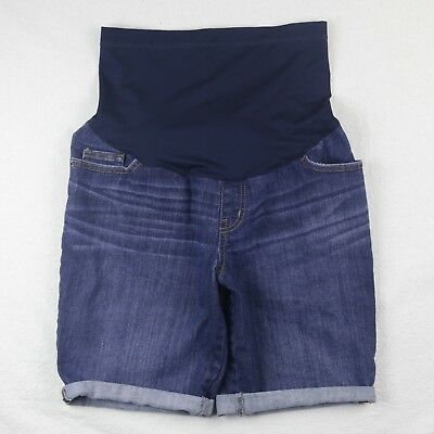 Liz Lange Maternity M Shorts Blue Denim Summer Cuffed Jean Stretch Belly Panel