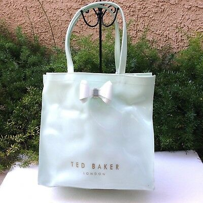 a95139b7ebb0d SALE TED BAKER London Mint PVC Large Bow Shopper Tote Shoulder Carryall Bag