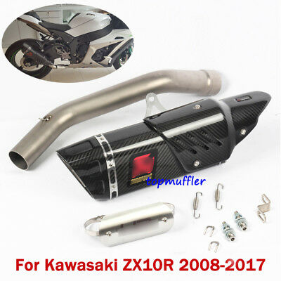 For 2008-2017 Kawasaki Ninja ZX10R Carbon Exhaust Pipe Slip On Connect Mid Pipe