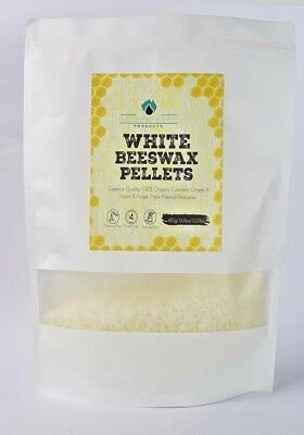 White Organic Beeswax Pellets 480g Grade A -3 x Filtered 100%Natural
