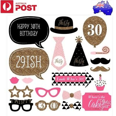20 pcs 30th BIRTHDAY PHOTO BOOTH PROPS (DIY PHOTO PROPS FOR LADY 30TH BIRTHDAY)