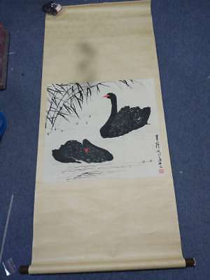 Excellent old Chinese Scroll Painting By Wu Zuoren: goose C84