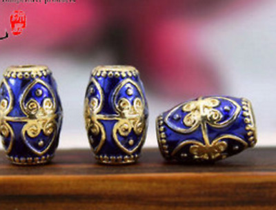 5 PCs Tibetan Silver Metal Beads dread beads 4mm hole-blue cloisonne
