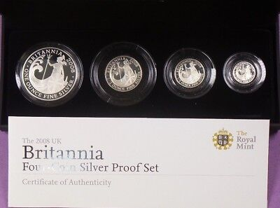 2008 Royal Mint Silver Proof Britannia Four Coin Set Cased & Cert