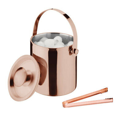 Ice Bucket Copper Plated Olympia with Tongs Bar Drinks Party Event Ice Caddy