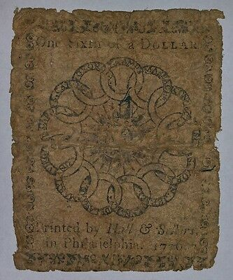 1776 Continental Currency  Philadelphia One Sixth Dollar