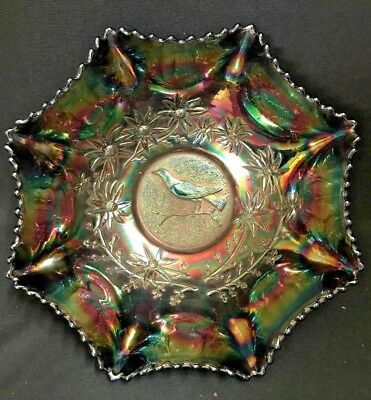 """C1925 Aust. Black Carnival 25 Cm Glass Master Bowl """"magpie"""" Crown Crystal Co Nsw"""