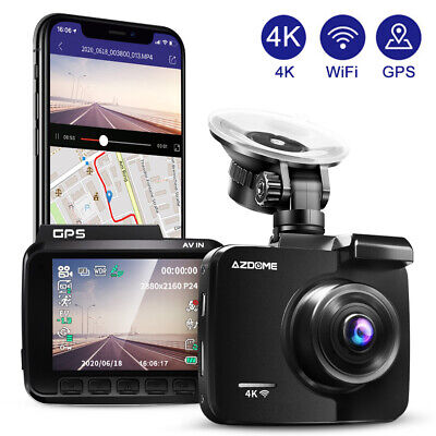 AZDOME 4K Ultra HD 2160P Dash Cam Car Camera WiFi DVRs with GPS Night Vision