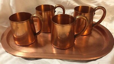 Vintage West Bend WB Solid Copper Set 4 Mugs + Oval Tray Moscow Mule Metal