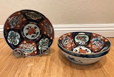 Vintage Japan Hand Painted GOLD IMARI Signed Porcelain Bowls Set of 3 Special