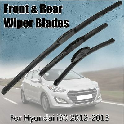 26'' 14'' 13'' Front Rear Windshield Window Wiper Blades For Hyundai i30 2012-15