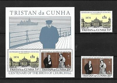 Tristan da Cunha 1974 Centenary of The Birth of Churchill Set+MS  MNH/UMM