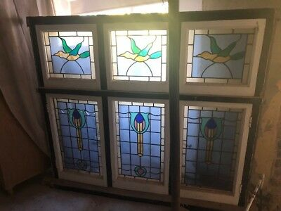 Large Antique 1930s leaded stain glass window 153 x 180
