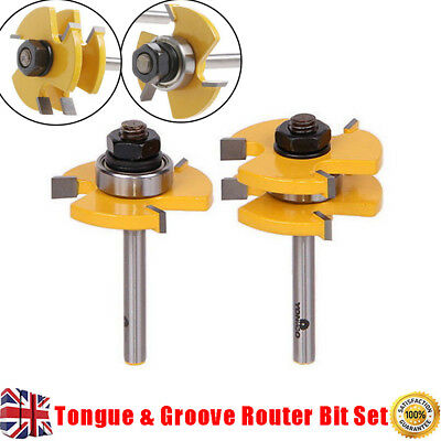 """Tongue and Groove Router Bit Set 1/4"""" Shank T-type3-tooth Useful Cutter Hot"""