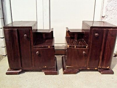 Antique Pair French Art Deco Bedside Chests Cabinets 1930 for restoration