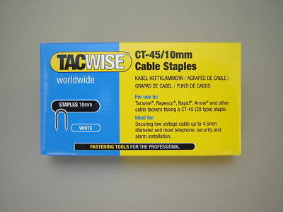 White Tacwise CT-45 10mm 0353 Telephone Alarm Cable staples Boxed in 1,000