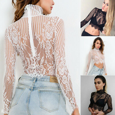 Women Mesh Sheer Shirt Party See-through Crop Top Long Sleeve Casual Blouse Sexy