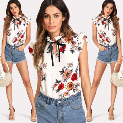 US Fashion Women's Summer Floral Chiffon Loose Tops T-shrit Casual Blouse Shirts