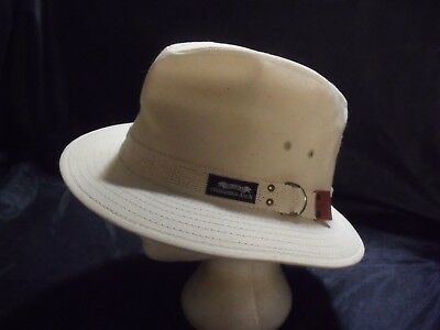 1b26d5ac458 Vintage ORIGINAL PANAMA JACK Safari Hat White Canvas XL Made In USA Vented  Cap
