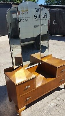 Vintage Triptych Mirror Top Dressing Chest