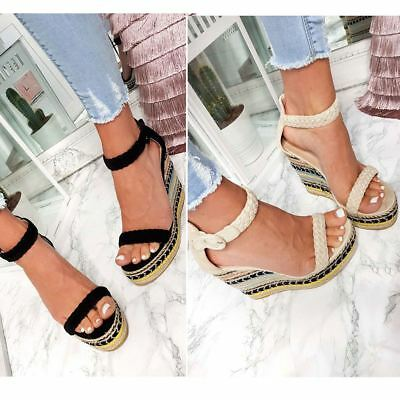 Womens Mid Block Heel Wedge Summer Sandals Strappy Boho Chic Party Wedding Size
