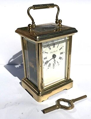 London Clock Co Brass Carriage Mantel Clock Timepiece with Key  Working Order