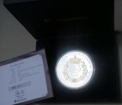 2010 The Royal Engagement 925 Silver Proof Coin 5 Oz  Cased & Cert