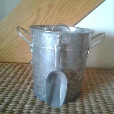 Ice Bucket - Galvanized with Inner Liner NOT removable - Hanging Scoop -  Used /