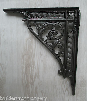 "PAIR of large 12"" cast iron shelf bracket wall mounted cistern ornate brackets"