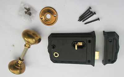 Farmouse Country Style Antique Brass Rim Knob + Black Cast Iron Door Latch Lock