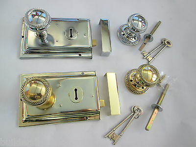 Old English Georgian Style Solid Brass Door Knob + Lock Set Handles