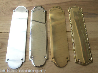 "12"" Solid Brass Old Retro Style Regency Finger Plate Door Push Plate"