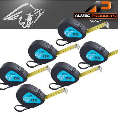 6 x OX Trade Tape Measure 10m/33ft Metric/Imperial OX-T500810