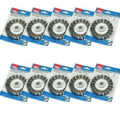 """4"""" Wire Wheel Brush 100mm M14 Knot Bevel for Angle Grinders Clean Rust SET OF 10"""