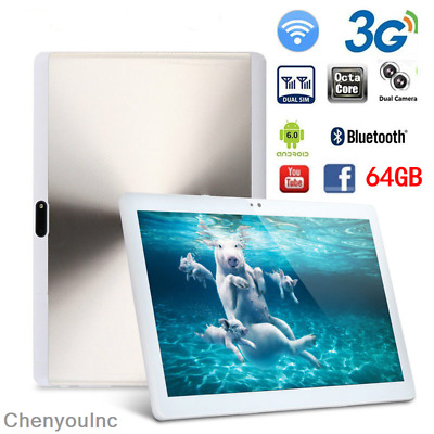 10.1'' Tablet PC Android 6.0 Octa Core 4GB+64GB WiFi 3G Phablet Dual Camera OTG