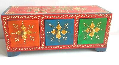 Set of three indian jewellery accessory/desktop drawers in red mehandi style