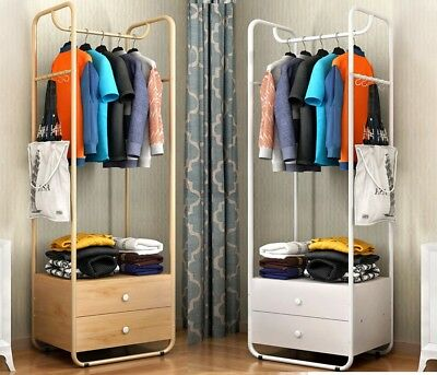Metal Frame Standing Coat Jacket Clothes Bag Shoe Rack Hanger Wardrobe Drawers