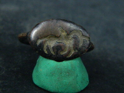 Ancient Bronze Seal Ring Bactrian 300 BC #BR6303