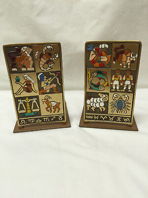 Vintage Sabra Made in Israel Zodiac Images Metal Bookends