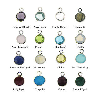 Gemstone Pendant-7mm Faceted Circle Shape-Tiny Circle Charm (Sold Per 2 Pieces)