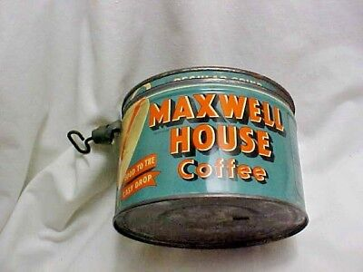 Vintage Maxwell House Coffee One Pound Round Tin Can w/Metal Lid & Key Attached